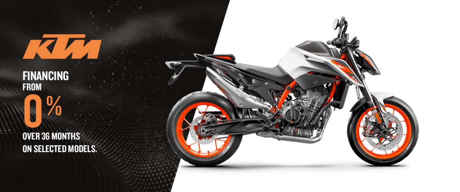 Hit the road with a KTM motorcycle – Financing from 0% over 36 months