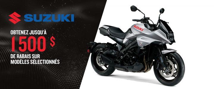 Jusqu'à 1 500 $ de rabais sur les motos Suzuki sélectionnées