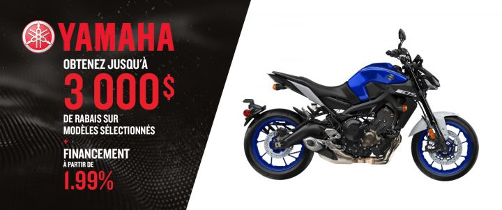 Obtenez jusqu'à 3 000 $ de rabais sur Modèles sélectionnées Yamaha