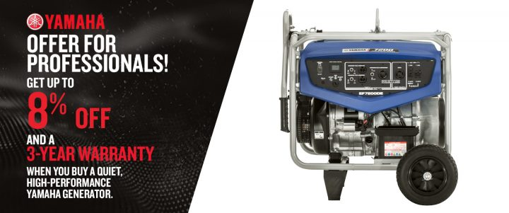 When you buy a quiet, high-performance Yamaha generator, get 3-year warranty.